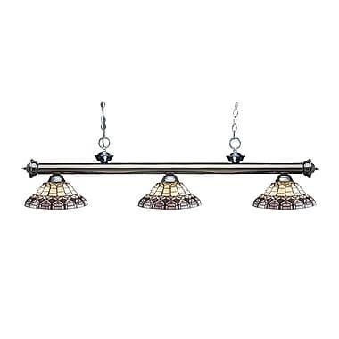 Z-Lite – Luminaire suspendu Riviera au fini gris métallique 200-3GM-H14-4, 3 amp., Tiffany multicolore