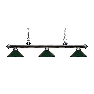 Z-Lite 200-3GM-MDG Riviera Gun Metal Island/Billiard Light Fixture, 3 Bulb, Dark Green