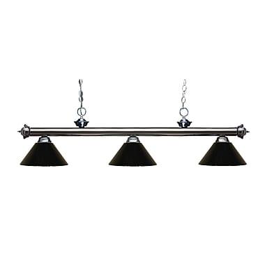 Z-Lite – Luminaire suspendu Riviera au fini gris métallique pour îlot/table de billard 200-3GM-PBK, 3 amp., noir