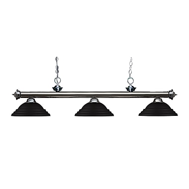Z-Lite 200-3GM-SMB Riviera Gun Metal Island/Billiard Light Fixture, 3 Bulb, Stepped Matte Black