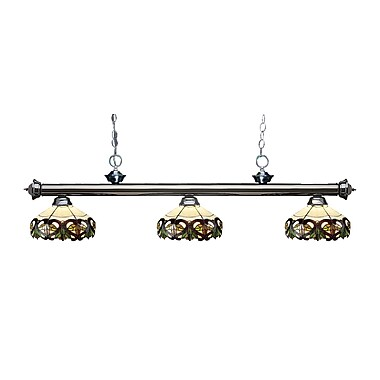 Z-Lite – Luminaire suspendu Riviera au fini gris métallique 200-3GM-Z14-33, 3 amp., Tiffany multicolore