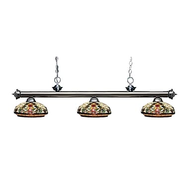 Z-Lite 200-3GM-Z14-34 Riviera Gun Metal Island/Billiard Light Fixture, 3 Bulb, Multi-Coloured Tiffany