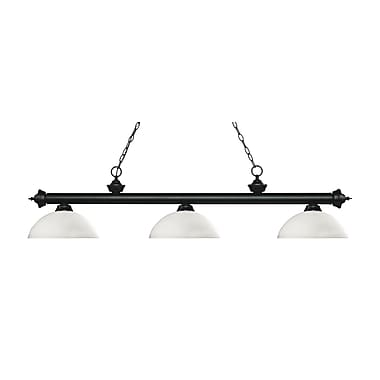 Z-Lite – Luminaire suspendu Riviera au fini noir mat pour îlot/table de billard 200-3MB-DMO14, 3 amp., dôme, opale mate