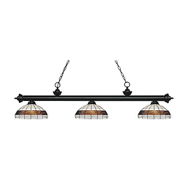 Z-Lite 200-3MB-F14-1 Riviera Matte Black Island/Billiard Light Fixture, 3 Bulb, Multi-Coloured Tiffany