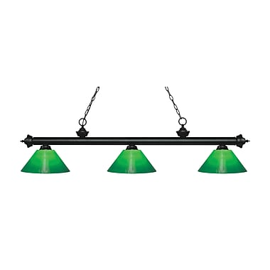Z-Lite 200-3MB-GCG14 Riviera Matte Black Island/Billiard Light Fixture, 3 Bulb, Green Cased