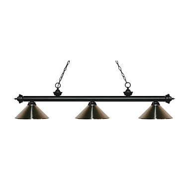 Z-Lite 200-3MB-MBN Riviera Matte Black Island/Billiard Light Fixture, 3 Bulb, Brushed Nickel