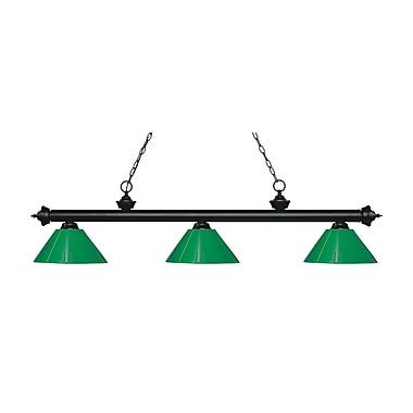 Z-Lite 200-3MB-PGR Riviera Matte Black Island/Billiard Light Fixture, 3 Bulb, Green