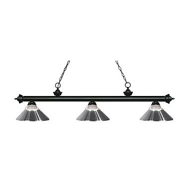 Z-Lite 200-3MB-RCH Riviera Matte Black Island/Billiard Light Fixture, 3 Bulb, Clear Ribbed Glass and Chrome