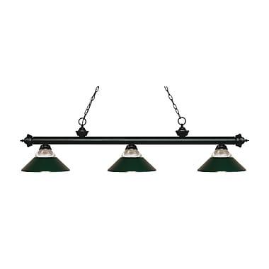 Z-Lite – Luminaire suspendu Riviera au fini noir mat 200-3MB-RDG, 3 amp., verre strié transparent et vert foncé