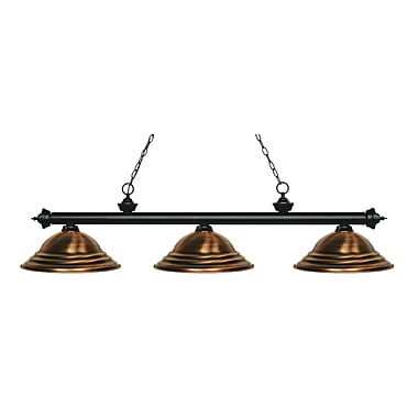 Z-Lite 200-3MB-SAC Riviera Matte Black Island/Billiard Light Fixture, 3 Bulb, Stepped Antique Copper