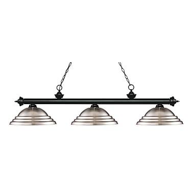 Z-Lite – Luminaire suspendu Riviera au fini noir mat pour îlot/table de billard 200-3MB-SBN, 3 amp., nickel brossé à relief