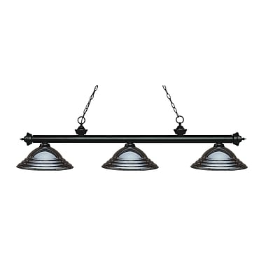 Z-Lite 200-3MB-SGM Riviera Matte Black Island/Billiard Light Fixture, 3 Bulb, Stepped Gun Metal