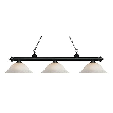 Z-Lite 200-3MB-WM16 Riviera Matte Black Island/Billiard Light Fixture, 3 Bulb, White Mottle