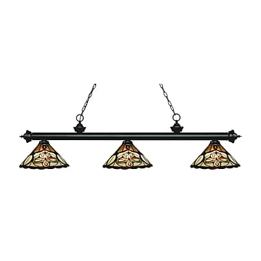 Z-Lite 200-3MB-Z14-10 Riviera Matte Black Island/Billiard Light Fixture, 3 Bulb, Multi-Coloured Tiffany