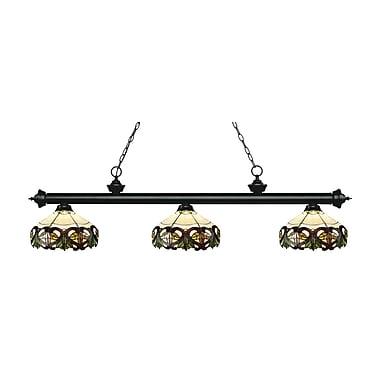 Z-Lite 200-3MB-Z14-33 Riviera Matte Black Island/Billiard Light Fixture, 3 Bulb, Multi-Coloured Tiffany