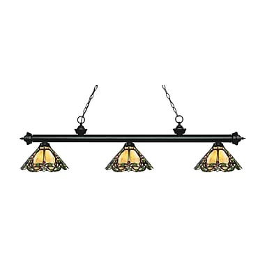 Z-Lite 200-3MB-Z14-37 Riviera Matte Black Island/Billiard Light Fixture, 3 Bulb, Multi-Coloured Tiffany