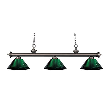 Z-Lite – Luminaire suspendu Riviera au fini bronze antique pour îlot/table de billard 200-3OB-ARG, 3 amp., vert