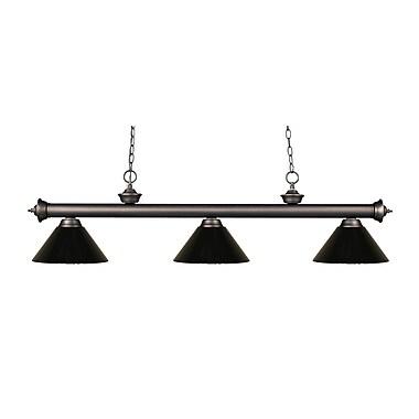 Z-Lite – Luminaire suspendu Riviera au fini bronze antique pour îlot/table de billard 200-3OB-PBK, 3 amp., noir
