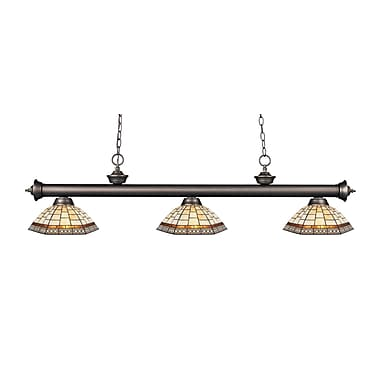 Z-Lite – Luminaire suspendu Riviera au fini bronze antique 200-3OB-Z14-35, 3 amp., Tiffany multicolore