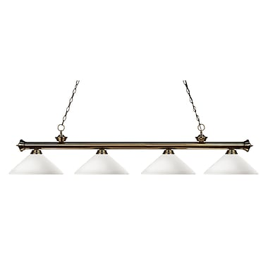 Z-Lite 200-4AB-AMO14 Riviera Antique Brass Island/Billiard Light Fixture, 4 Bulb, Angle Matte Opal
