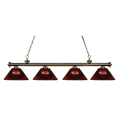 Z-Lite 200-4AB-ARBG Riviera Antique Brass Island/Billiard Light Fixture, 4 Bulb, Burgundy