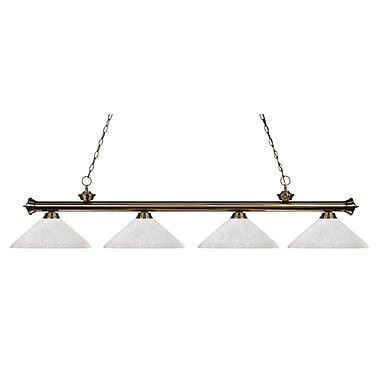 Z-Lite – Luminaire suspendu Riviera au fini laiton antique pour îlot/table de billard 200-4AB-AWL14, 4 ampoules, lin blanc