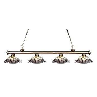 Z-Lite 200-4AB-H14-4 Riviera Antique Brass Island/Billiard Light Fixture, 4 Bulb, Multi-Coloured Tiffany