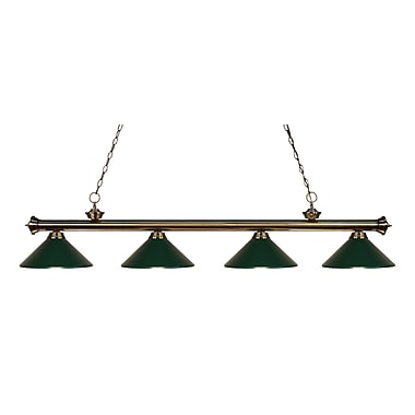 Z-Lite 200-4AB-MDG Riviera Antique Brass Island/Billiard Light Fixture, 4 Bulb, Dark Green