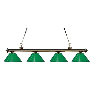 Z-Lite 200-4AB-PGR Riviera Antique Brass Island/Billiard Light Fixture, 4 Bulb, Green