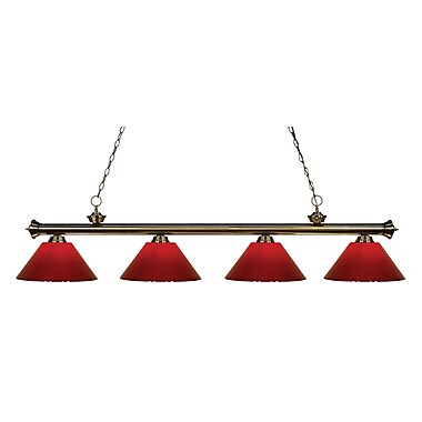 Z-Lite 200-4AB-PRD Riviera Antique Brass Island/Billiard Light Fixture, 4 Bulb, Red