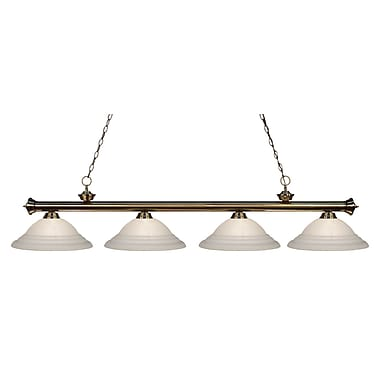Z-Lite 200-4AB-SW16 Riviera Antique Brass Island/Billiard Light Fixture, 4 Bulb, White Swirl
