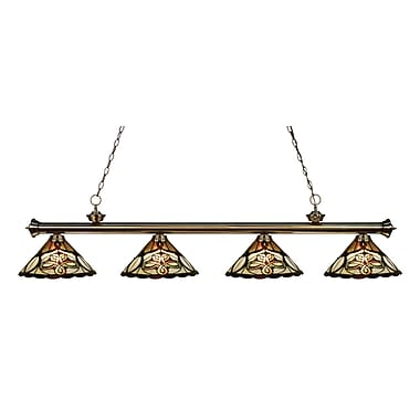 Z-Lite 200-4AB-Z14-10 Riviera Antique Brass Island/Billiard Light Fixture, 4 Bulb, Multi-Coloured Tiffany