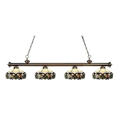 Z-Lite – Luminaire suspendu Riviera au fini laiton antique 200-4AB-Z14-33, 4 amp., Tiffany multicolore