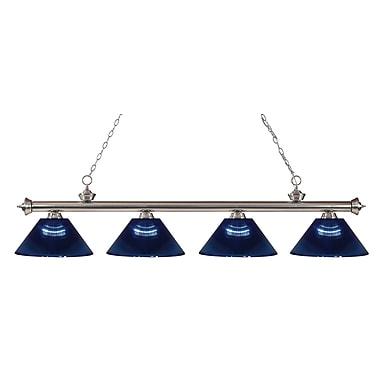 Z-Lite 200-4BN-ARDB Riviera Brushed Nickel Island/Billiard Light Fixture, 4 Bulb, Dark Blue