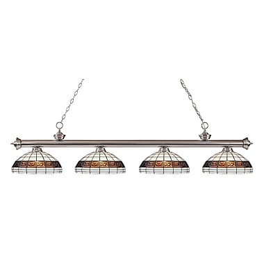 Z-Lite 200-4BN-F14-1 Riviera Brushed Nickel Island/Billiard Light Fixture, 4 Bulb, Multi-Coloured Tiffany