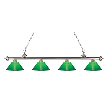 Z-Lite 200-4BN-GCG14 Riviera Brushed Nickel Island/Billiard Light Fixture, 4 Bulb, Green Cased