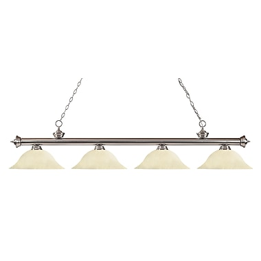Z-Lite 200-4BN-GM16 Riviera Brushed Nickel Island/Billiard Light Fixture, 4 Bulb, Golden Mottle