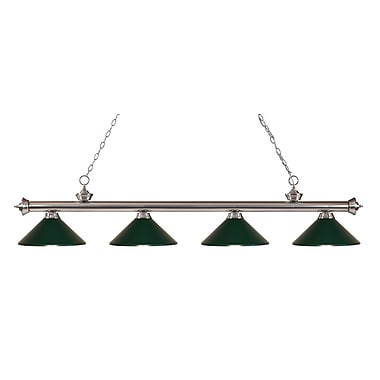 Z-Lite 200-4BN-MDG Riviera Brushed Nickel Island/Billiard Light Fixture, 4 Bulb, Dark Green