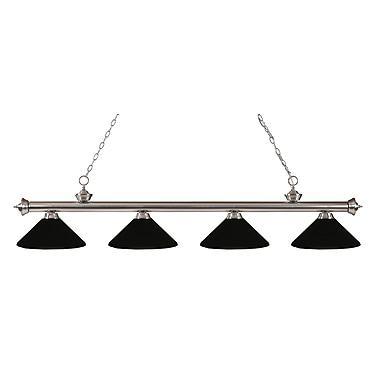 Z-Lite – Luminaire suspendu Riviera au fini nickel brossé pour îlot/table de billard 200-4BN-MMB, 4 amp., noir mat