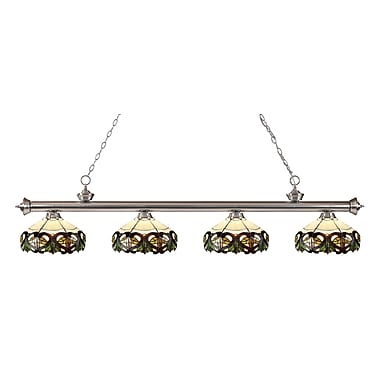 Z-Lite 200-4BN-Z14-33 Riviera Brushed Nickel Island/Billiard Light Fixture, 4 Bulb, Multi-Coloured Tiffany