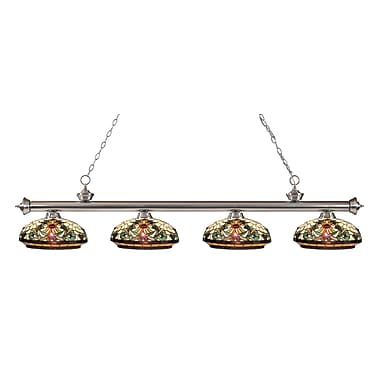 Z-Lite 200-4BN-Z14-34 Riviera Brushed Nickel Island/Billiard Light Fixture, 4 Bulb, Multi-Coloured Tiffany