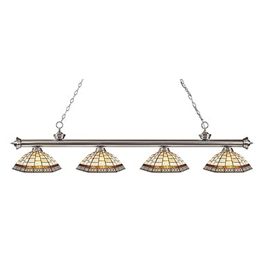 Z-Lite 200-4BN-Z14-35 Riviera Brushed Nickel Island/Billiard Light Fixture, 4 Bulb, Multi-Coloured Tiffany
