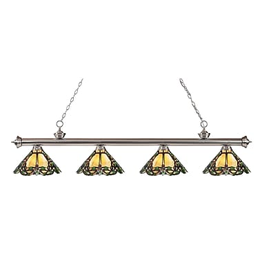 Z-Lite 200-4BN-Z14-37 Riviera Brushed Nickel Island/Billiard Light Fixture, 4 Bulb, Multi-Coloured Tiffany
