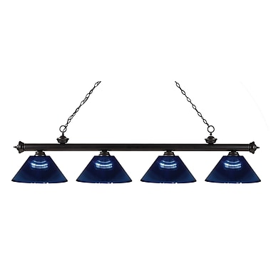 Z-Lite 200-4BRZ-ARDB Riviera Bronze Island/Billiard Light Fixture, 4 Bulb, Dark Blue