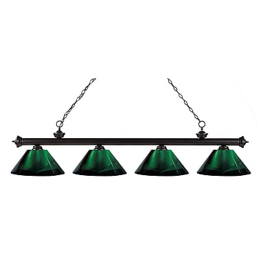 Z-Lite 200-4BRZ-ARG Riviera Bronze Island/Billiard Light Fixture, 4 Bulb, Green