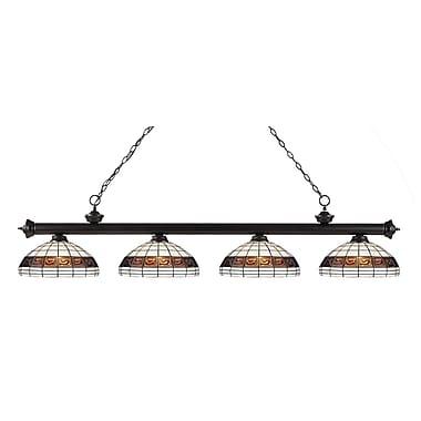 Z-Lite – Luminaire suspendu Riviera au fini bronze 200-4BRZ-F14-1, 4 amp., Tiffany multicolore
