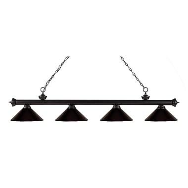 Z-Lite – Luminaire suspendu Riviera au fini bronze pour îlot/table de billard 200-4BRZ-MBRZ, 4 ampoules, bronze