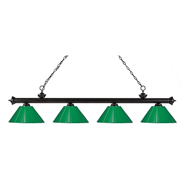 Z-Lite 200-4BRZ-PGR Riviera Bronze Island/Billiard Light Fixture, 4 Bulb, Green