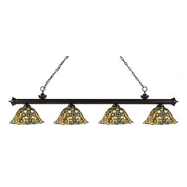Z-Lite 200-4BRZ-R14A Riviera Bronze Island/Billiard Light Fixture, 4 Bulb, Multi-Coloured Tiffany