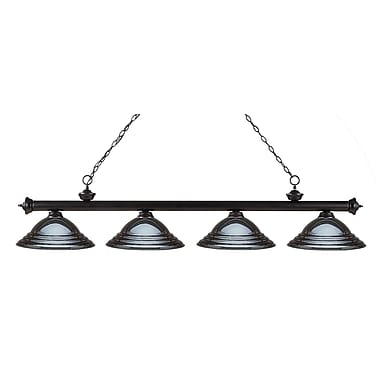 Z-Lite 200-4BRZ-SGM Riviera Bronze Island/Billiard Light Fixture, 4 Bulb, Stepped Gun Metal